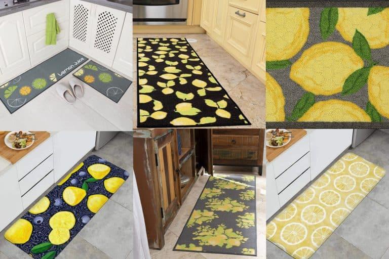 Collage of lemon rug products, 12 Beautiful Lemon-Themed Kitchen Rugs