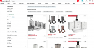 Overstock page for bathroom accessories