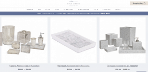 Fine Linens page for bathroom accessories