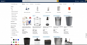 Walmart page for bathroom accessories