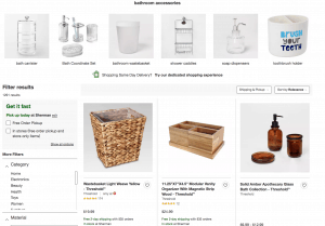 Target page for bathroom accessories