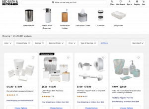 Bed Bath & Beyond page for bathroom accessories