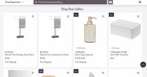 Perigold page for bathroom accessories
