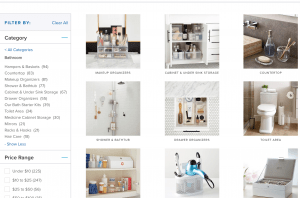 The Container Store page for bathroom accessories