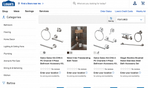 Lowe's page for bathroom accessories
