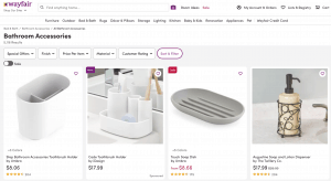 Wayfair page for bathroom accessories