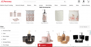 JCPenney page for bathroom accessories