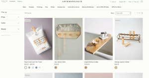 Anthropologie page for bathroom accessories