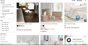 Pottery Barn page for bathroom accessories