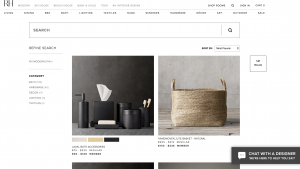 Restoration Hardware page for bathroom accessories