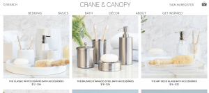 Crane & Canopy page for bathroom accessories