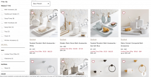 West Elm page for bathroom accessories