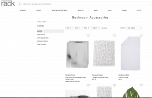 Nordstrom Rack page for bathroom accessories