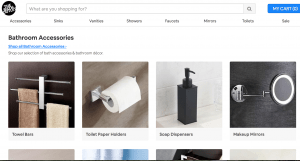 The Bath Outlet page for bathroom accessories