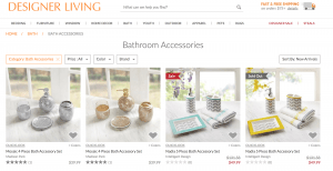 Designer Living page for bathroom accessories