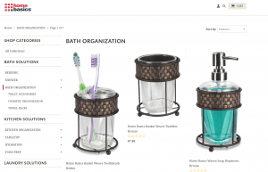 Home Basics page for bathroom accessories