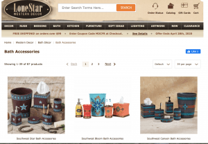 Lone Star Western Decor page for bathroom accessories