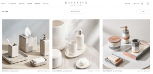 Kassatex page for bathroom accessories