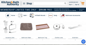 Kitchen & Bath Authority page for bathroom accessories