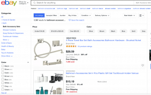 eBay page for bathroom accessories
