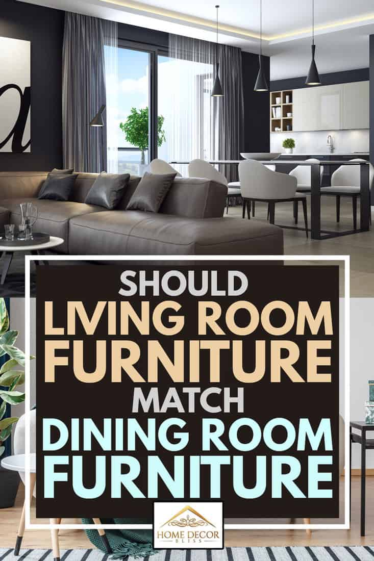modern contempory dark black luxury style living room interior with dining and kitchen, Should Living Room Furniture Match Dining Room Furniture?