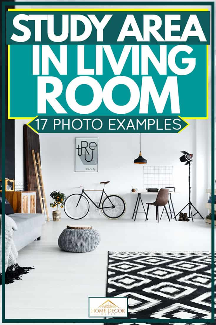 Black and white colored living room with white flooring and furniture and other materials for decoration, Study area in living room: 17 Photo Examples