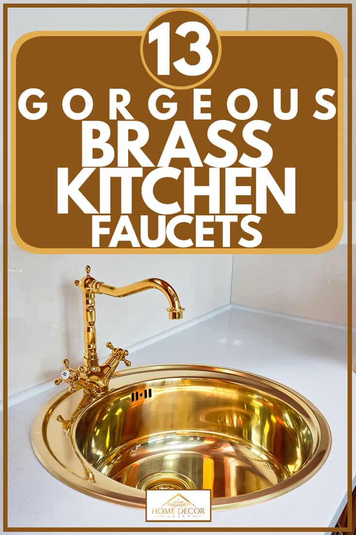 Polished shining brass kitchen faucet and white granite countertop, 10 Gorgeous Polished Brass Kitchen Faucets