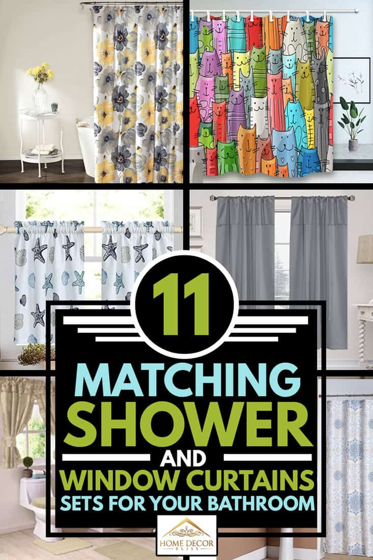 A collage of matching window and shower curtains sets, 11 Matching Shower And Window Curtains Sets for Your Bathroom