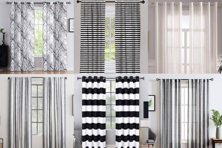 A collage of six aesthetically gorgeous black and white striped curtains, 13 Black and White Striped Curtains That Will Delight You