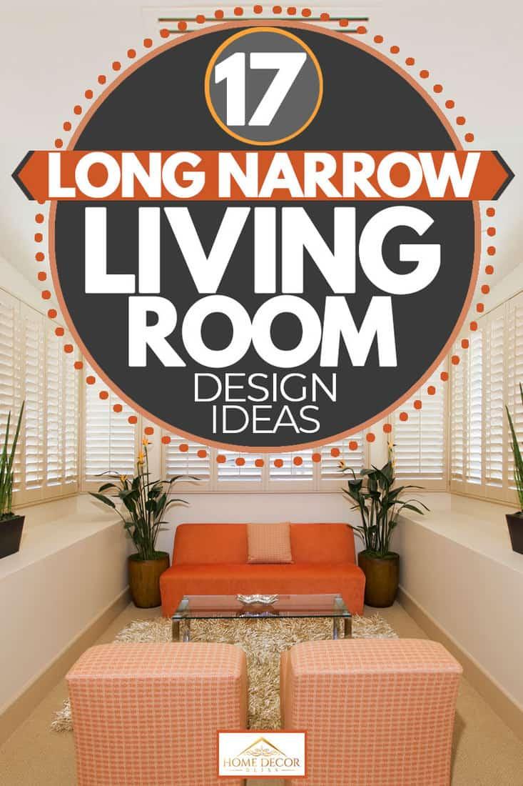 Orange inspired Narrow living room with houseplants, 17 Long Narrow Living Room Design Ideas