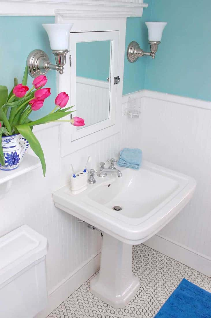 A vase of tulips adds a splash of color to this cozy yet elegantly furnished bathroom