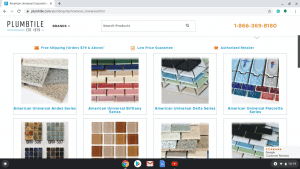 Bathroom tiles online on American Universal's page.