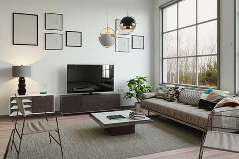 Apartment square living room with wide space, tv, sofa and parquet floor