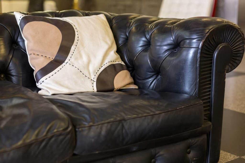 Close up of a black leather sofa and cushion