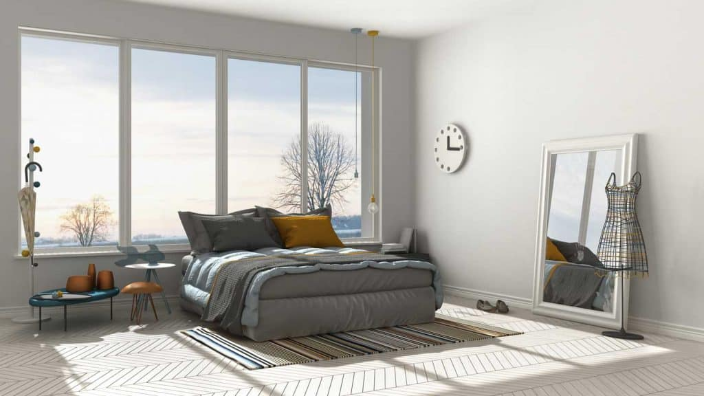 Modern white bedroom with floor mirror, panoramic view, wide windows