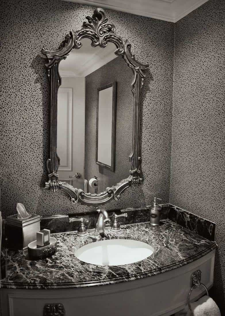 Elegant antique bathroom in black and white