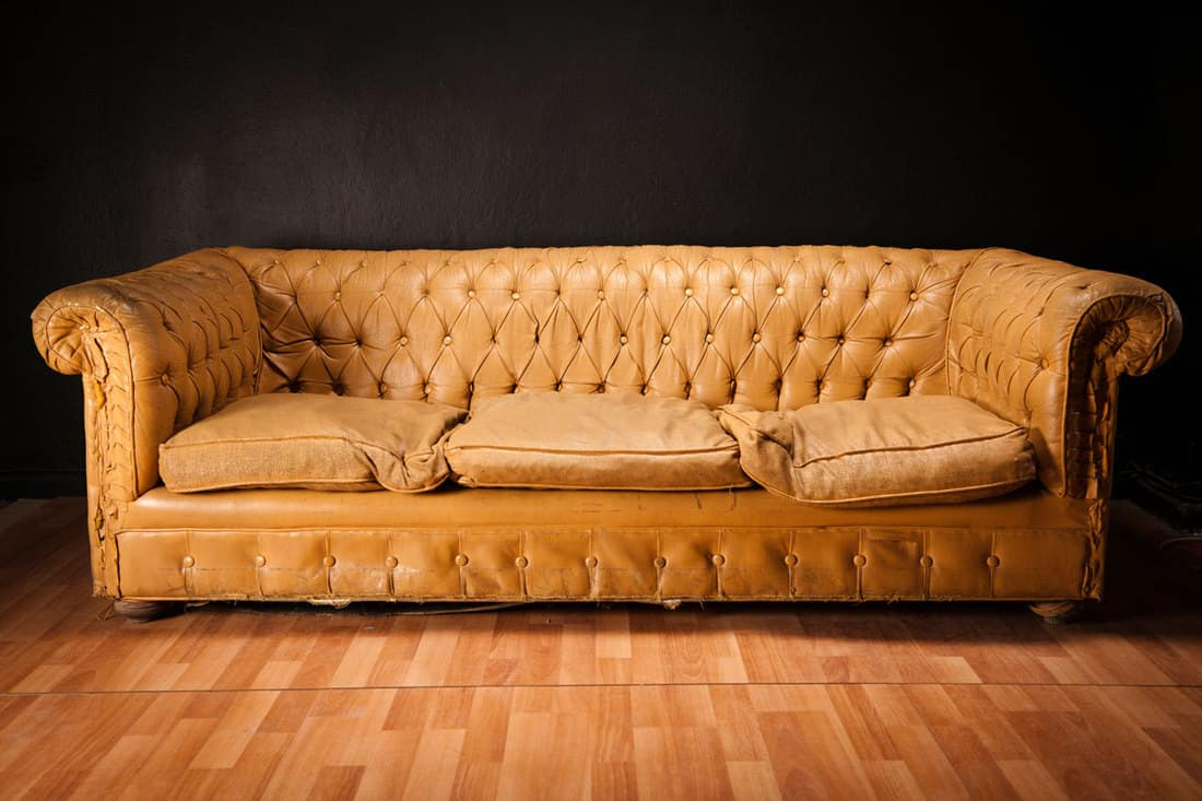 Gold colored sofa place near wall on wooden flooring