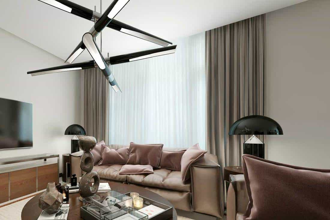 Contemporary living room with white and brown curtains