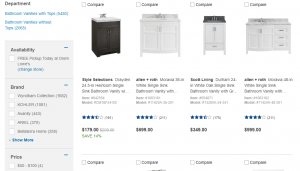 Lowes website product page