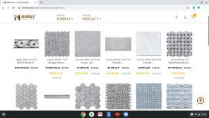 Bathroom tiles online on Marble Online's page.