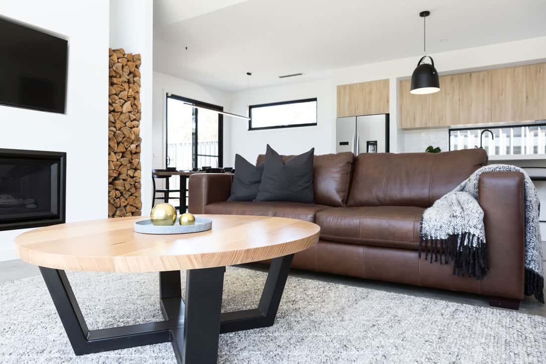Modern living room with brown sofa and a stylish table up front