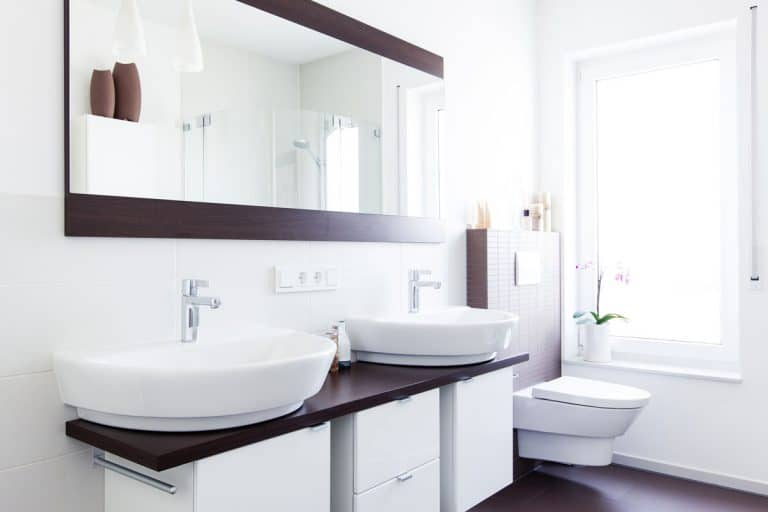 Wide mirror with two lavatories below it properly aligned with the cabinets below, Where To Buy a Bathroom Vanity [Top 30 Online Stores]