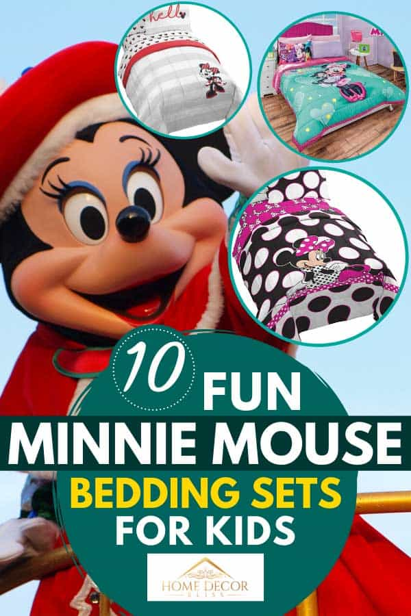 Collage of minnie mouse bedding sets for kids with minnie mouse on the background, 10 FUN Minnie Mouse Bedding Sets for Kids