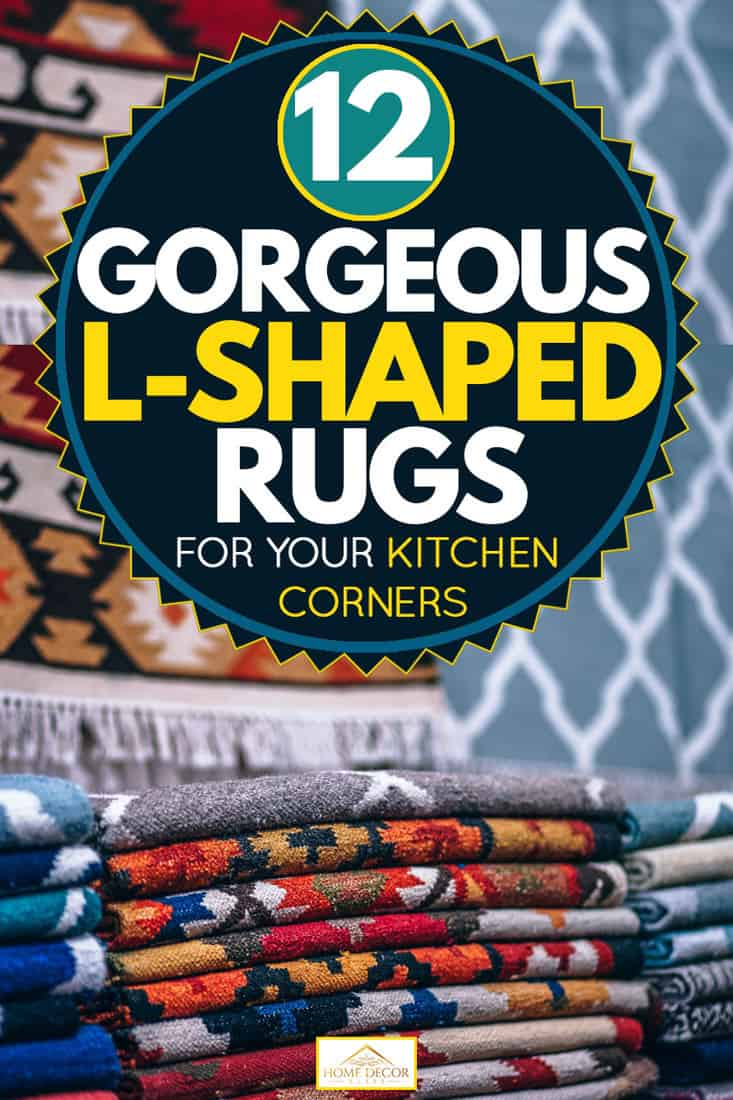 Gorgeous folder rugs with gorgeous patterns displayed for selling, 12 Gorgeous L-Shaped Rugs for Your Kitchen Corners