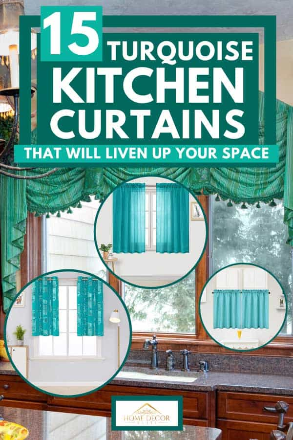 Stylish modern kitchen interior with chandelier and curtain, 15 Turquoise Kitchen Curtains That Will Liven Up Your Space