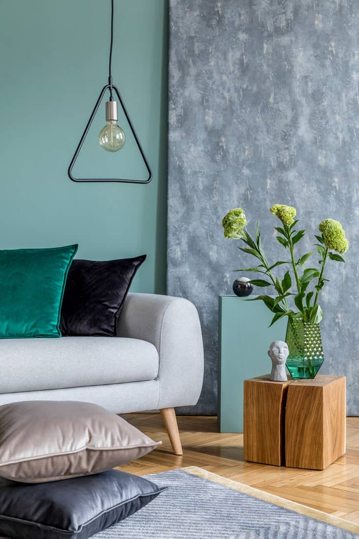 A light green colored wall with a gray texture combination incorporated with a nicely colored furniture