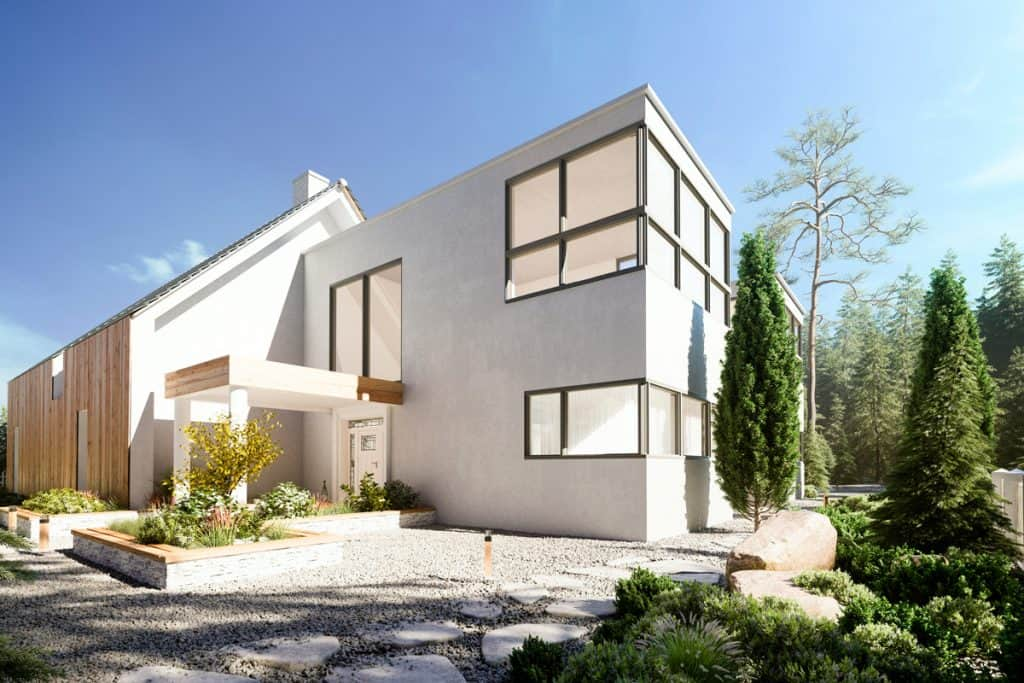 A modern house with huge windows, gorgeous garden, and an extended barn house with wooden cladding