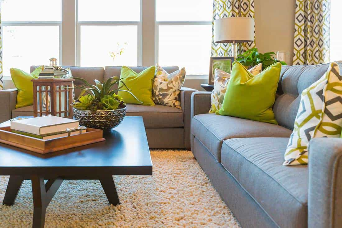 Beautiful living area with coffee table and couch of a new home