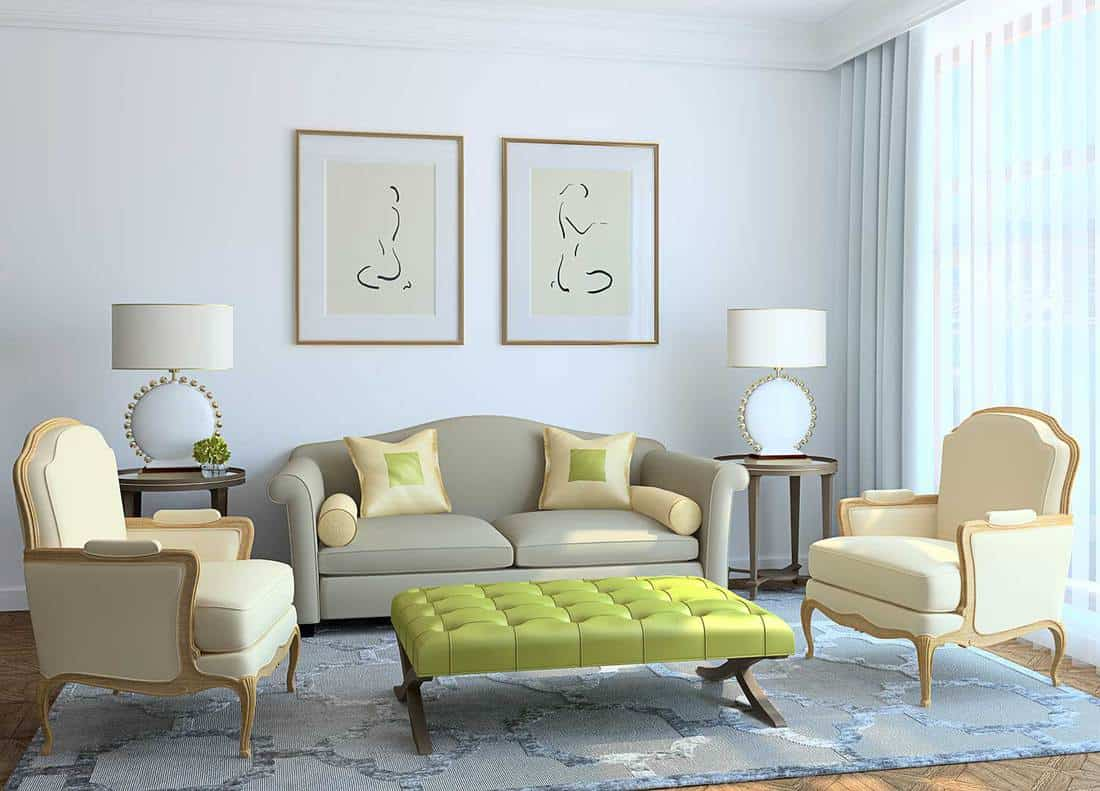 Classy modern living room interior with sofa and accent chairs