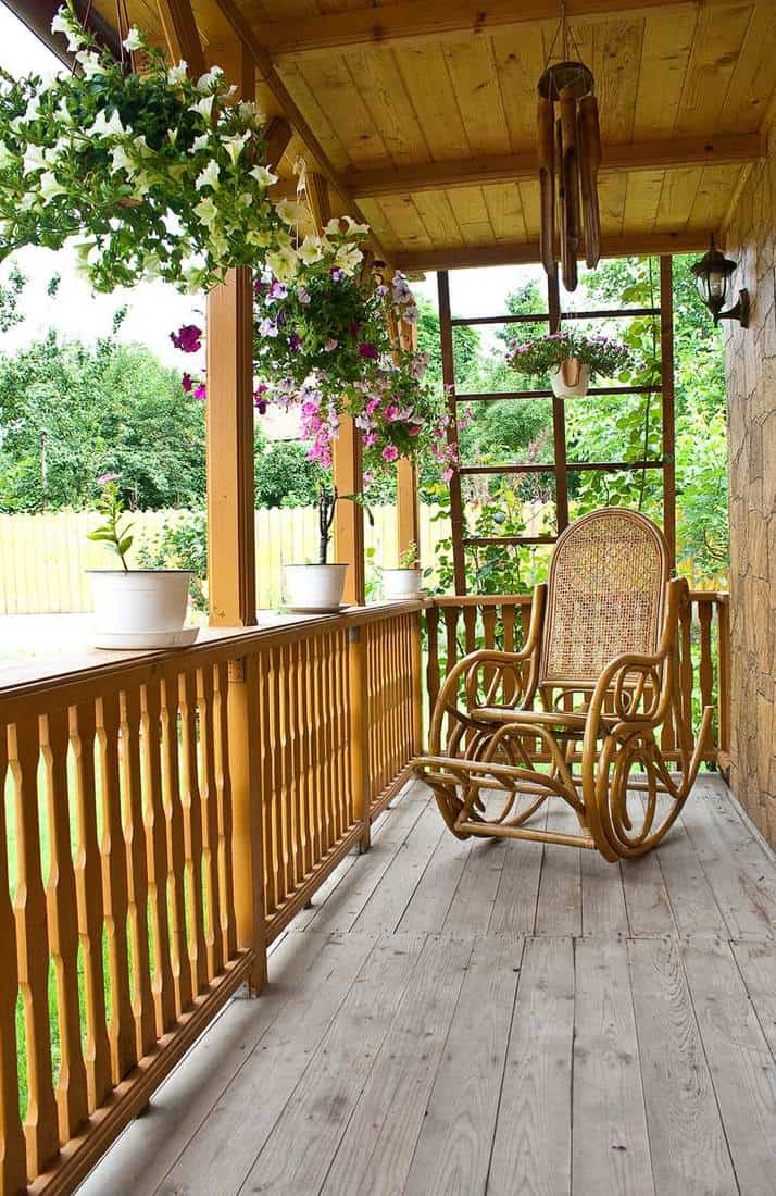 Countryside porch of a wooden house